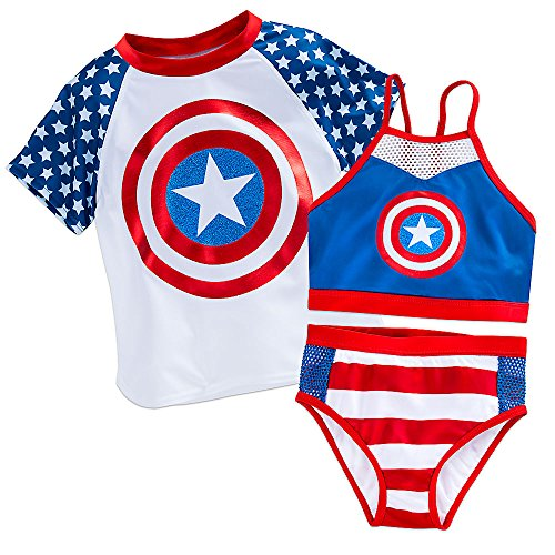 Marvel Captain America Swim Set for Girls Size 9/10 White -