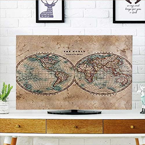 Auraisehome Cover for Wall Mount tv Decor Collection Old World Map from 1800s for Geography and History Print Burlywood Cover Mount tv W32 x H51 INCH/TV 55