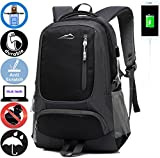 ANTSANG Backpack Bookbag For School Student College Business Travel with USB Charging Port Fit Laptop Up to 15.6 Inch (Black)