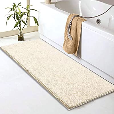 "Sheepping Chenille Bathroom Rugs Runner (59"" x 20"") - Anti-Slip Long Bath Mat, Extra Soft,Absorbent and Machine Washable,Shaggy Chenille Noodle Bath Rugs for Bathroom,Bedroom and Kitchen,Ivory - Non-slip white bathroom runner with updated PVC backing, keeps the rug securely in place for added safety Soft chenille bath mat runner, plush and thick, relieve pressure and fatigue on your feet,provides a comfortably plush place to stand and keep floors dry. Long bathroom rug with highly absorbent plush tufts across the entire surface soak up water fast, dries quickly for supreme comfort - bathroom-linens, bathroom, bath-mats - 51IGXhWoQcL. SS400  -"