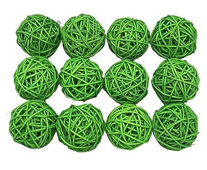 Amazon Com Fascola 12pcs Multi Colors Wicker Rattan Balls Garden