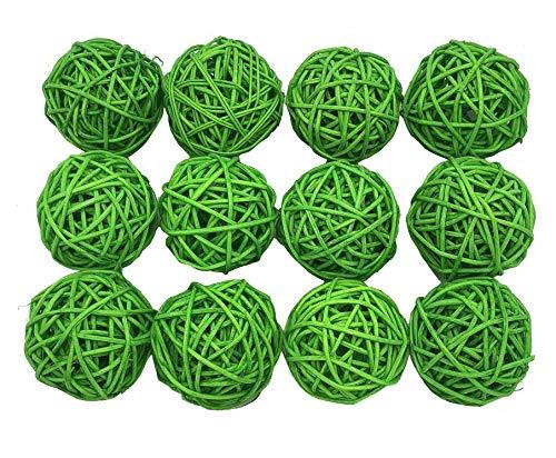 (Fascola 12pcs Multi Colors Wicker Rattan Balls, Garden, Wedding, Party Decorative Crafts, Vase Fillers, Rabbits, Parrot, Bird Toys (Lime Green, 5CM))