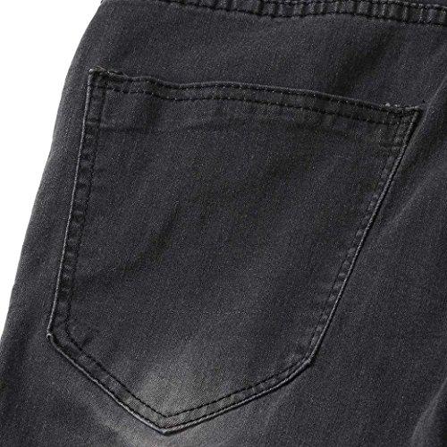 Pantalones Largos Hombre Jeans Mezclilla Vaqueros Pantalones de STRIR de Slim Fit Elásticos Pitillo Vaqueros Rotos Cintura Negro de Pantalones Delgados Skinny Baja w7gqxI7