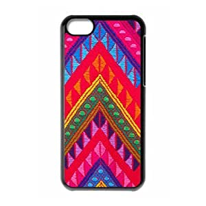 zig zag pattern aztec red green blue iPhone 5C Case Black hjbrhga1544