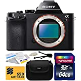 Sony a7R Full-Frame 36.4 MP Mirrorless Interchangeable Digital Lens Camera - Body Only (ILCE7R) with Starter Accessories Bundle Kit includes 64GB Class 10 SDHC Memory Card + Hard Shell Carrying Case + Camera Lens Cleaning Kit + Bonus for Digital Prints