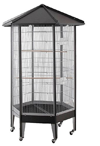 HQ Hexagonal Bird Flight Aviary 34x68 Black by Hq