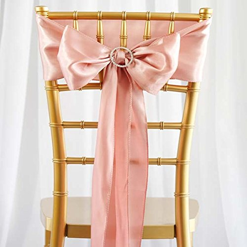 Efavormart 25pcs Rose Gold Satin Chair Sashes Tie Bows for Wedding Events Decor Chair Bow Sash Party Decoration Supplies 6 x106