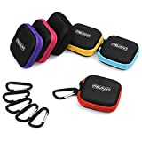 Meuxan 6-Pack Earbud Case Storage Pouch with Carabiner for Earphone USB Cable Flash Drive, 6 Colors