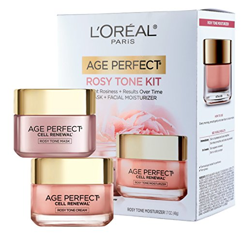 L'Oréal Paris Skin Care Giftable Kit with Age Perfect Favorites Rosy Tone Face Moisturizer & Face Mask, 1 Kit