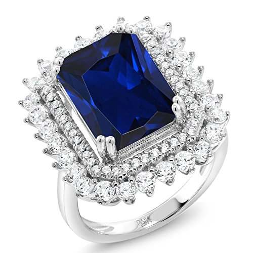 10.60 Ct Octagon Blue Simulated Sapphire 925 Sterling Silver Ring (Size 7) by Gem Stone King