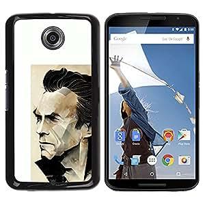 GOODTHINGS Funda Imagen Diseño Carcasa Tapa Trasera Negro Cover Skin Case para Motorola NEXUS 6 / X / Moto X Pro - Arnold héroe de acción cartel blanco el actor