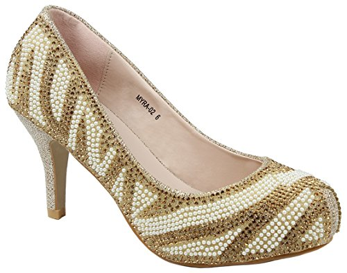 Bella Luna Myra Sparkle Crystal Gem Rhinestone Glitter Mesh Formal Evening Dress Pumps Gold_Myra2