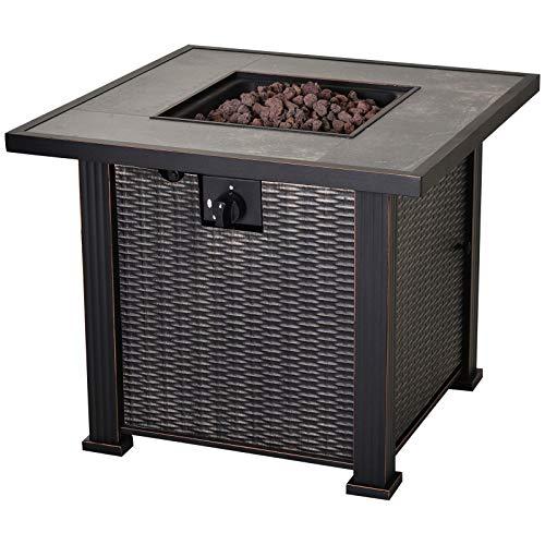 Outsunny 30″ Outdoor Gas Fire Pit Table with Deluxe Slate Tabletop and Wicker Design, 50,0 ...