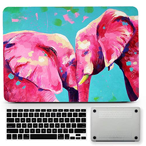Bizcustom Red Elephant Hard Case for MacBook Pro 13 A1706/A1708/A1988/A1989 with Touch Bar/Retina Display 2016-2018 Year Rubberized Lovely Animal Print Cover (Pro Case Retina Elephant Macbook)