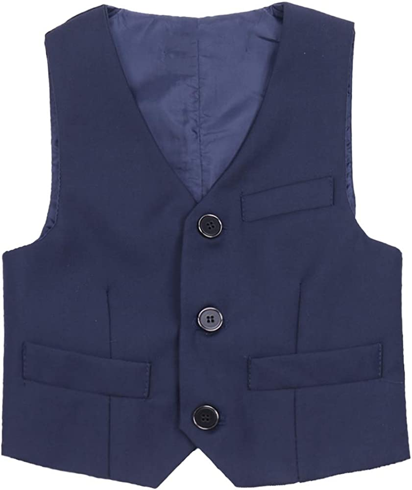 ranrann Kids Boys Classic-Style Gentleman Blazer Waistcoat Wedding Birthday Party Formal Suit Vest