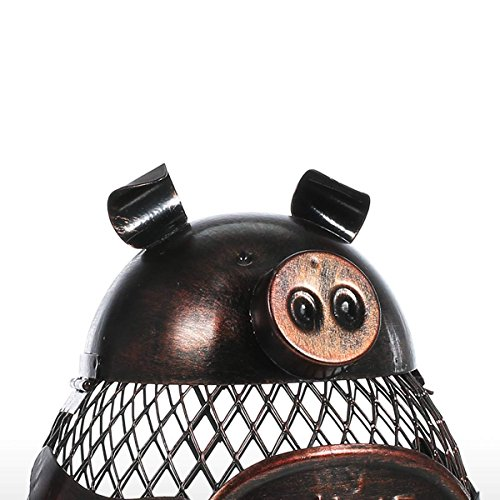 Tooarts Piggy Wine Barrel Cork Cage Container Metal Sculpture Handicraft Gift Home Decor by Tooarts (Image #4)