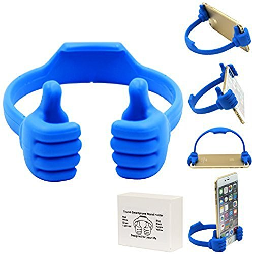 Cell Phone Tablet Holder, VPR Thumbs Up Cute TPU Plastic Universal Flexible Phone Tablet Bed Desk Stand for Kitchen, Office, Bedroom, for iPad Mini 4 3 2 iPhone 7 6S Plus Samsung 7 S6 Edge (Blue) (Samsung S4 Mini Case 5sos compare prices)