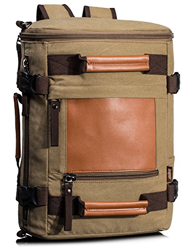Leaper Canvas Heavy Duty Sport Backpack Travel Hiking Rucksack Multifunction Camping Bag Khaki