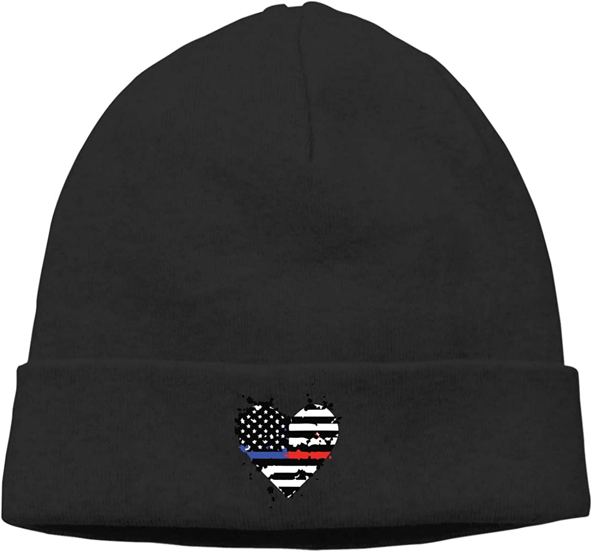 Thin Thin Blue Red Line Flag Heart Men /& Women Solid Color Beanie Hat Stretchy /& Soft Winter Cap