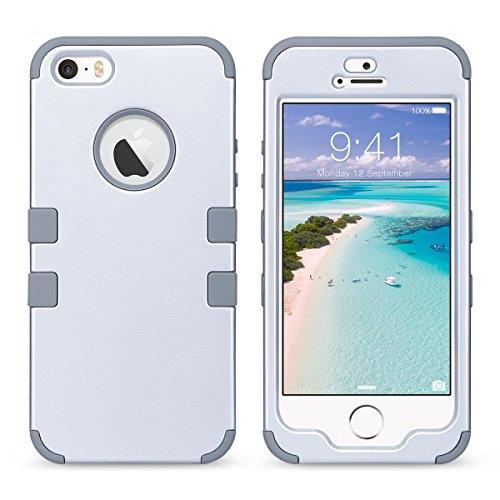 Caso del iPhone 5S, ULAK iPhone se Funda iPhone 5 Carcasa Cubierta dura a prueba de choques dura de la caja de la PC del silicón suave de alto impacto híbrido 3in1 para el iPhone 5 5s se (plata) plata