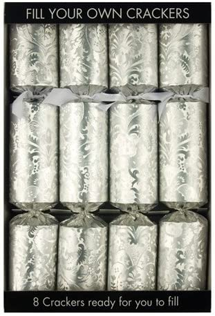Set of 6 Fill Your Own Mistletoe Christmas Crackers in Silver