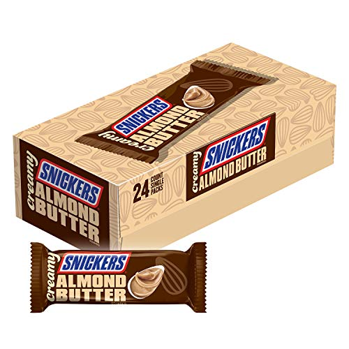 Creamy SNICKERS Almond Butter Singles Size Square Candy Bars, 1.4-Ounce Bars 24-Count ()
