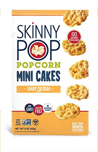 SkinnyPop Mini Popcorn Cakes, Sharp Cheddar, 5 Ounce
