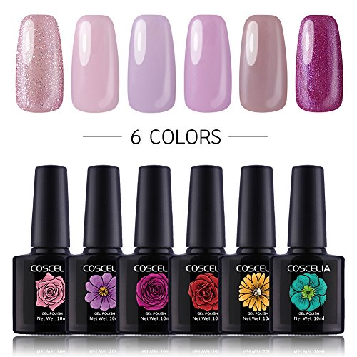 Coscelia 6 Pcs 0.34 fl.oz Soak off Gel Nail Polish Set Pink