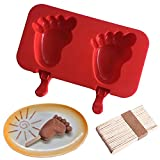 Silicone ICE Popsicle Molds,DiDaDi 2 Cavities Cute ICE CAREM Mould,DIY ICE CREAM Maker,Silicone Jelly Chocolate Candy Soap Molds with 20 Wooden Sticks - Feet