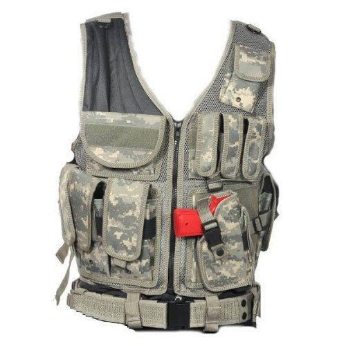 Ultimate Arms Gear ACU Army Digital Tactical Scenario Military-Hunting Assault Vest w/ Right Handed Quick Draw Pistol Holster
