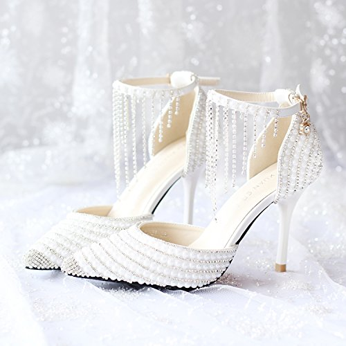heeled 9CM and High Women's shoes bride toe Rhinestones Pointed bridesmaid Heel CN35 white Tassel wedding amp; sandals Si Stiletto w6AXX
