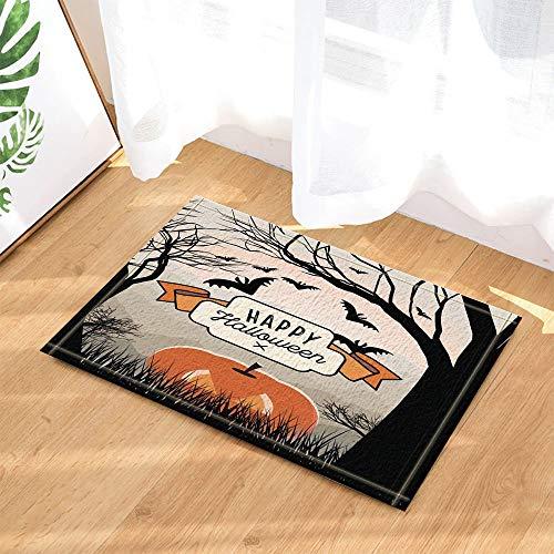Halloween Decor Papercutting of Bats and Pumpkin and Trees Bath Rugs for Bathroom Non-Slip Floor Entryways Outdoor Indoor Front Door Mat Kids Bath Mat 15.7x23.6in Orang Black