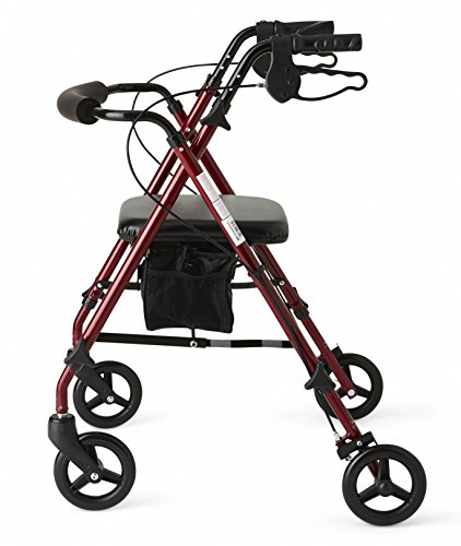 Medline Freedom Lightweight Folding Aluminum Rollator Walker with 6' Wheels, Adjustable Arms and...