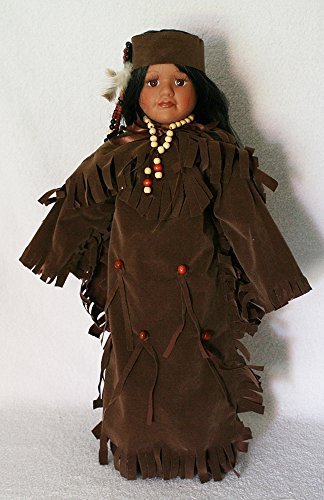 JOINER Native American Porcelain Doll 18 inches with Traditional Faux Brown Leather Dress with Beading and Headdress and -