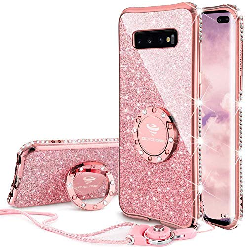 OCYCLONE Galaxy S10 Plus Case, Glitter Cute Phone Case for Women Girls with Kickstand, Bling Diamond Rhinestone Bumper Ring Stand Compatible with Galaxy S10 Plus Case for Girl Women - Rose Gold [Pink] (Best Cute Phone Cases)