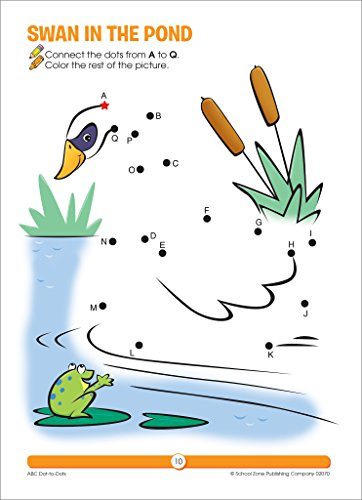 SCHOOL ZONE - ABC Dot-to-Dots Workbook, Ages 3 to 5, Get Ready!™, Alphabet, Alphabetical Order, Letters, Sequencing, Fine Motor Skills, Illustrations and More! by School Zone Publishing (Image #3)