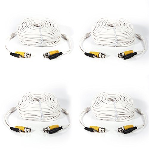 Masione 4 Pack 100ft Security Camera Video Power Cable White Replacement Extension Wire Cord for CCTV DVR CCD Surveillance System with BNC to RCA Adaptor