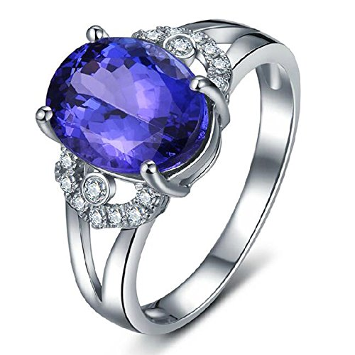 Ladies Contemporary Solid 14K White Gold Natural Gemstone Tanzanite Ring Finger Sizes 4 to 13 Available by Kardy