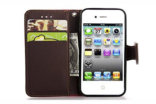 MOONCASE iPhone 4 Case Leder Tasche Flip Case Cover Schutzhülle Etui Hülle Schale für iPhone 4 4S Rot