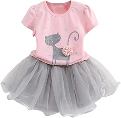 Summer Kids Baby Girl Tops Gauze Tutu Skirt Dress Party Clothes 2pcs Set Outfit