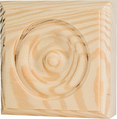 WADDELL MANUFACTURING RTB-35 Rosette Trim Pine Block Molding, 3.75 x 3.75 x 1