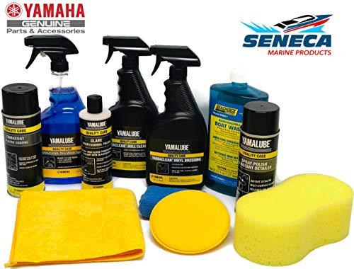 SENECA Marine Yamaha Boat Wash & Detailer Essential Starter Kit w/Pro-Wash, Boat Wash, Yamacoat, Glare Pro Polish, Vinyl Dressing, Hull Cleaner, Spray Polish Instant Detailer, Sponge PWC-BW-0040-KT