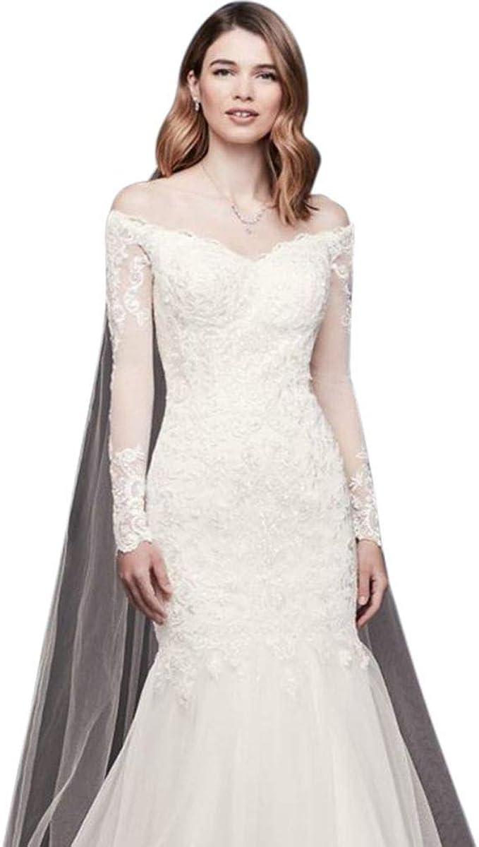 Long Sleeve Off The Shoulder Petite Wedding Dress Style 7wg3943 Ivory 4p At Amazon Women S Clothing Store