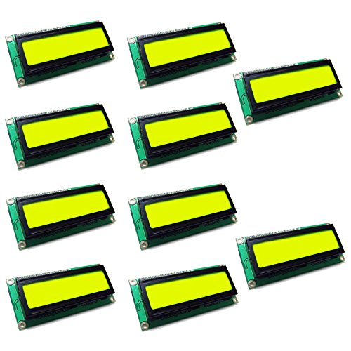 Optimus Electric 10pcs I2C LCD 1602 Screen Module 16 x 2 Black Character Display with Adjustable Contrast and Yellow - Green Backlight from by Optimus Electric