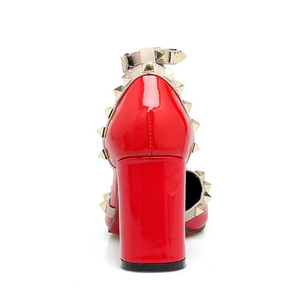 1TO9 Womens Grommets Chunky Heels Pointed-Toe Pleather Pumps Shoes MJS02734