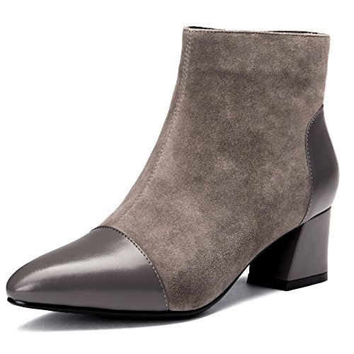 Nine Women's Toe Business Chunky Pointy Suede Handmade Ankle Leather Classy Heel Grey Seven Boots r4t1qZr