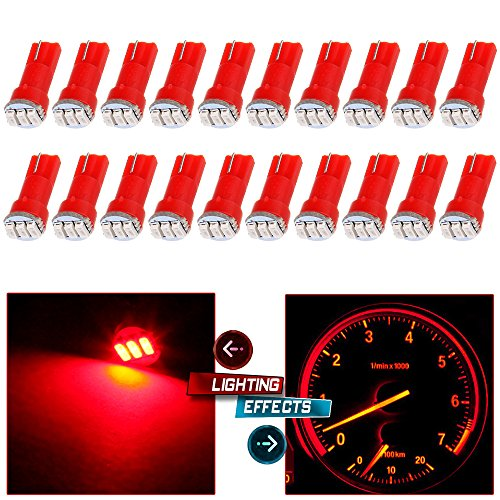 cciyu 20 Pack T5 3-3014SMD Instrument Dashboard Wedge LED Car Light Bulbs Lamp 37 73 Red Fit 1995-1997 1999-2002 Dodge Spirit Viper Stealth B3500 B2500 Ram 3500 Ram 2500 Intrepid Avenger Durango
