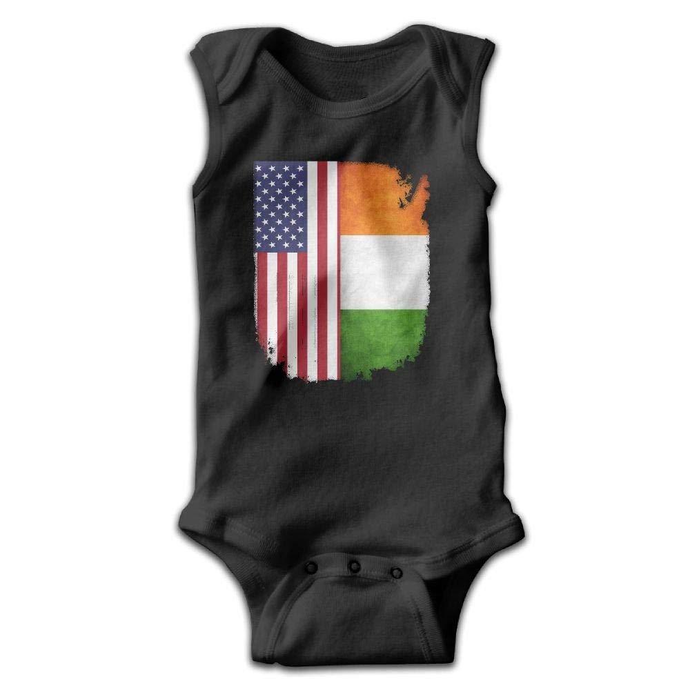 braeccesuit Irish American Flag Infant Baby Boys Girls Crawling Clothes Sleeveless Romper Bodysuit Onesies Jumpsuit Black