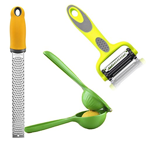 Lemon Squeezer & Hand Juicer With Free Lemon Zester & Vegetable Peeler and Parmesan Cheese Grater with Safety Cover - Best Kitchen Tool Set for Gifts (2)