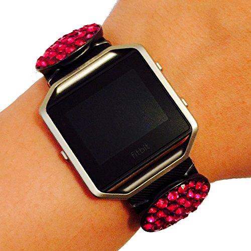 [Fitbit Blaze Jewelry - Fitbit Fitness Tracker Accessory Bracelet - Simple Oval Hematite Blue Pink Rhinestone Studded PROVIDENCE Fitbit Charm Accessory (Pink)] (Hematite Oval Bracelet)